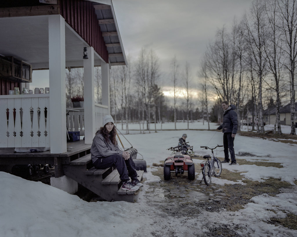 Hanna and Kristoffer Hedberg in their house in the countryside of Vihelmina