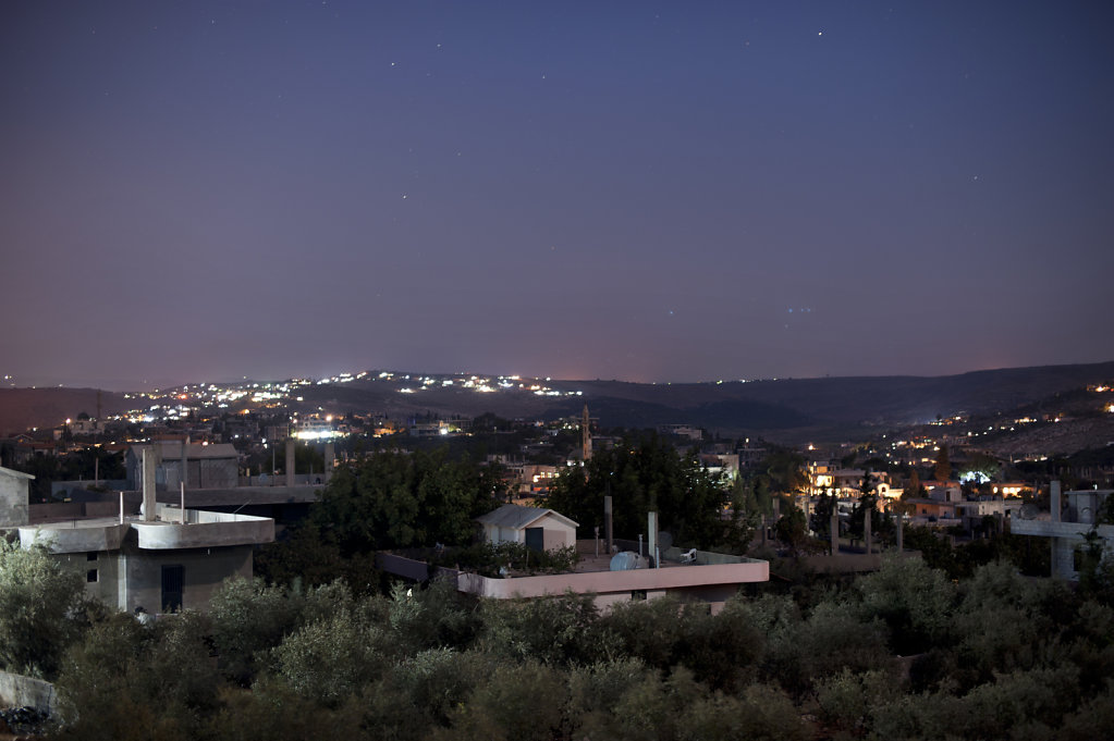 Rama is one of 22 villages in the area Wadi Kahled, in northeastern Lebanon. The lights in the background is Syrian territory.