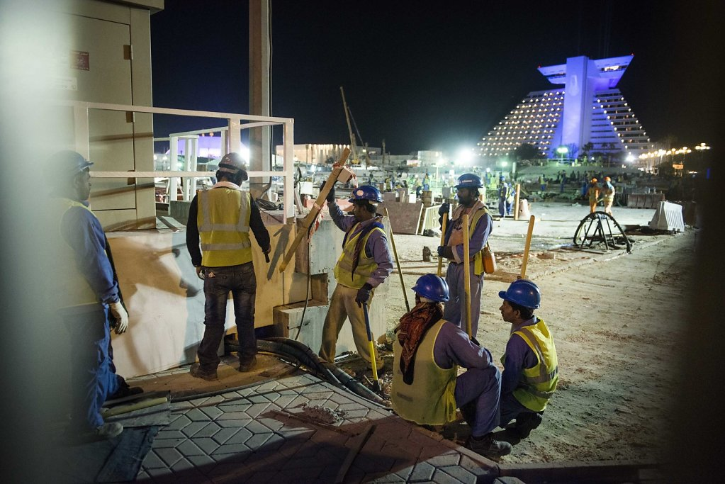 Migrant workers during a nightshift in Doha.