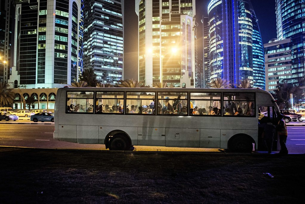 Most of the migrant workers are living in huge camps, in the desert, far away from anything. Each day, large buses carries the many migrant workers, into construction sites in Doha.
