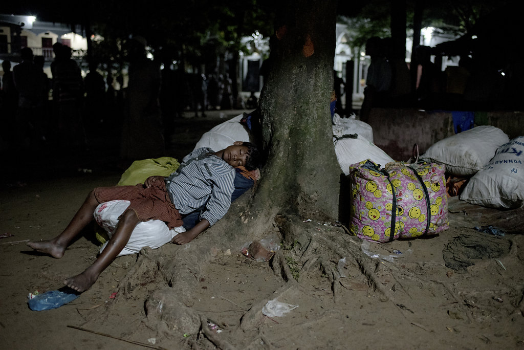 The local madrasa at Shahpuree Island, are transformed into arrival center for the many thousands of refugees, each night. Many have been on the run for many days and arrive total exhausted.