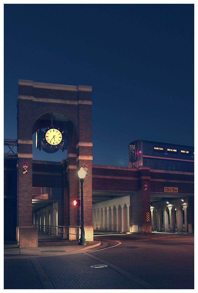 clock and train, USA